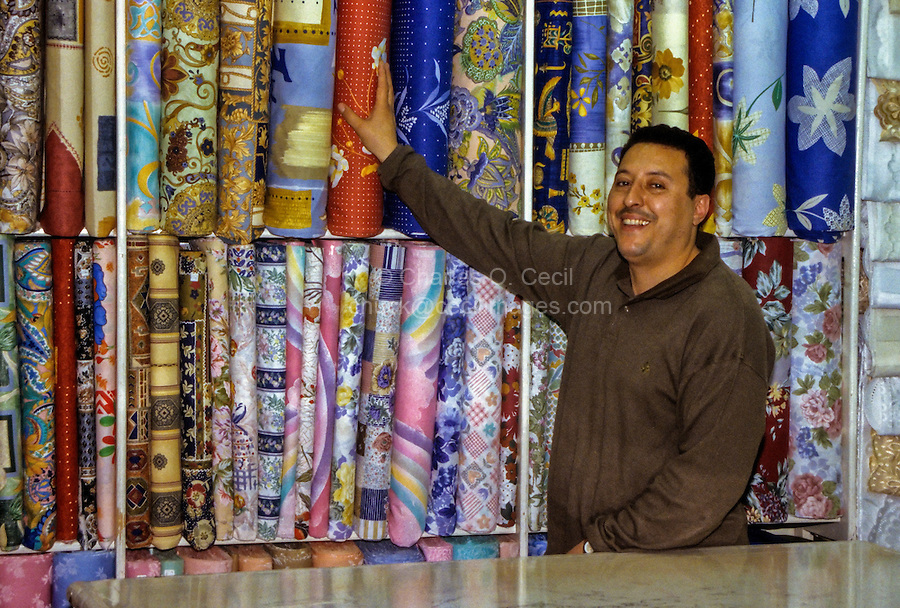 Fabric Vendor, Tunis Medina, Tunisia.