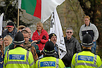 Merthyr Tydfil - UK - 26th April 2012 : Anti- Monarchy protestors during The Queen and Prince Philip's visit to Cyfarthfa Castle museum and art gallery in Merthyr Tydfil this afternoon.  The Queen and Prince Philip are visiting towns and cities all over the United Kingdom to mark the Diamond Jubilee year.