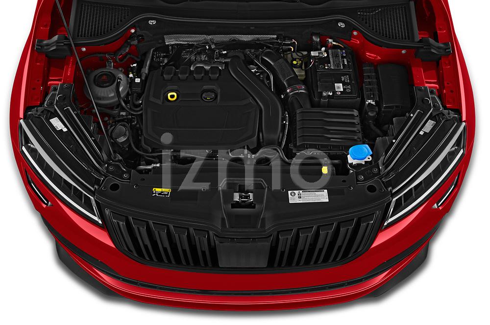 Car Stock 2020 Skoda Karoq Sport-Line 5 Door SUV Engine  high angle detail view