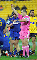 Bronson Murray is yellow carded during the Super Rugby match between the Hurricanes and Highlanders at Westpac Stadium, Wellington, New Zealand on Saturday, 6 July 2013. Photo: Dave Lintott / lintottphoto.co.nz