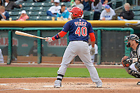 Audry Perez (40) of the Memphis Redbirds at bat against the Salt Lake Bees at Smith's Ballpark on June 18, 2014 in Salt Lake City, Utah.  (Stephen Smith/Four Seam Images)