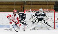 Boston, Massachusetts - February 11, 2017: NCAA Division I. Boston University (white) defeated University of New Hampshire (blue), 5-2, at Walter Brown Arena.