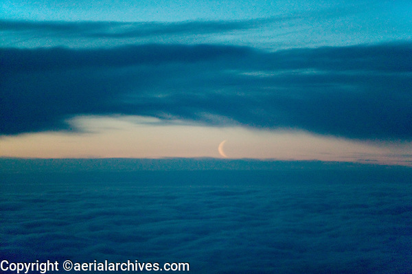 Aerial photograph of setting crescent of the moon