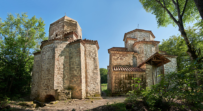 Pictures & images of two tetraconch cupola churches from the first quarter of the seventh century. Dzveli (Old) Shuamta Monastery  founded by one of the 13 Syrian Fathers in the sixth century, Kakheti , Georgia (country).