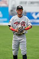 Tri-City ValleyCats third baseman Kristian Trompiz (24) warms up before a game against the Batavia Muckdogs on July 16, 2017 at Dwyer Stadium in Batavia, New York.  Tri-City defeated Batavia 13-8.  (Mike Janes/Four Seam Images)