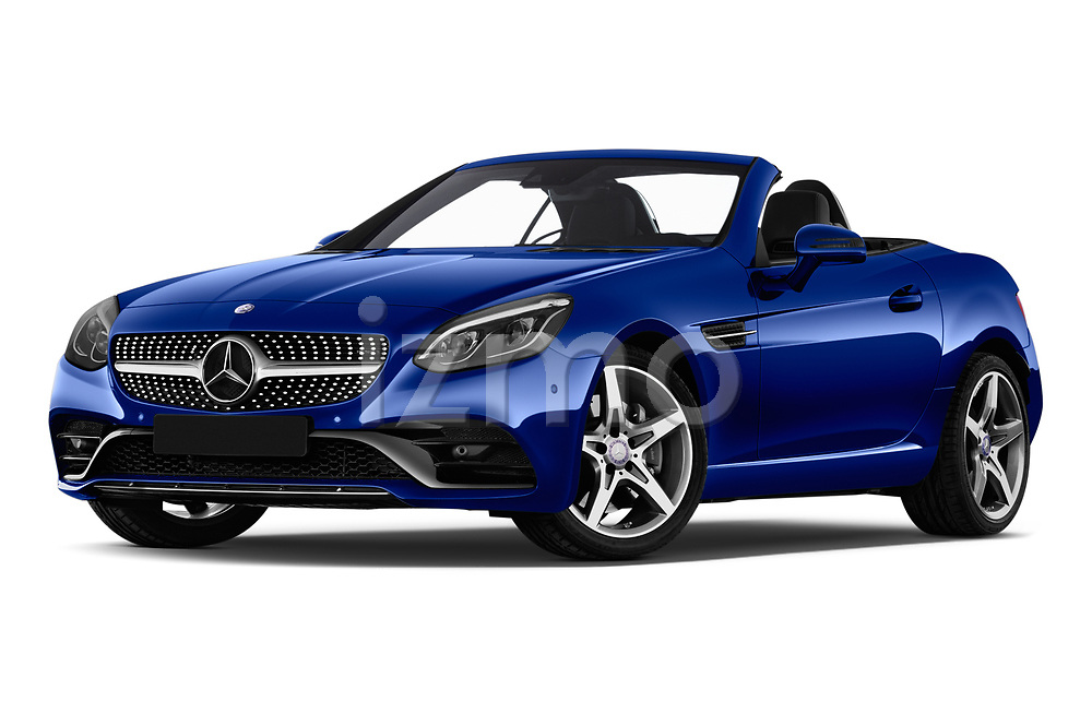 Stock pictures of low aggressive front three quarter view of a 2018 Mercedes Benz SLC AMG Line 2 Door Convertible