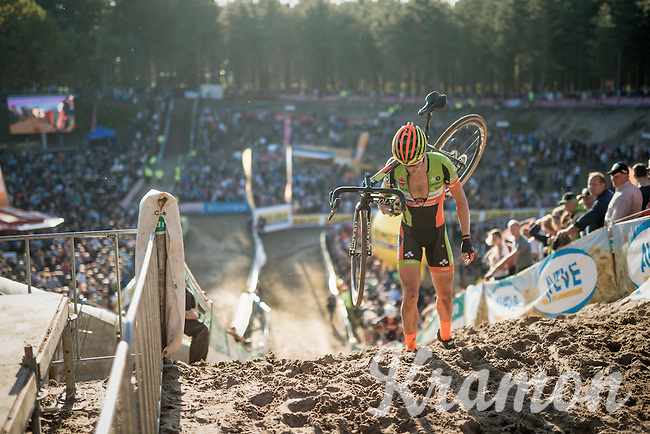 Tim Merlier (BEL/Crelan-Vastgoedservice) crashed at the bottom of 'The Pit' & resurfaces still somewhat dazed on top loosing many places in the meanwhile<br /> <br /> CX Superprestige Zonhoven 2016