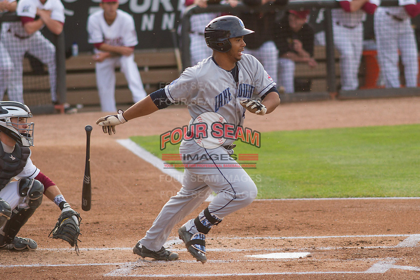 Lake County Captains first baseman Bobby Bradley (44) at bat during a Midwest League game against the Wisconsin Timber Rattlers on June 3rd, 2015 at Fox Cities Stadium in Appleton, Wisconsin. Wisconsin defeated Lake County 3-2. (Brad Krause/Four Seam Images)