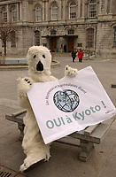 File - april 22 . 2002, Montreal, Quebec, Canada; <br /> <br /> Montrealers from Green Peace and other ecological groups express their support for the implementation of the Kyoto Protocol on the reduction of pollution, april 22, 2002, beside the Montreal City Hall.<br /> <br /> <br /> <br /> <br /> <br /> <br /> (Mandatory Credit: Photo by Sevy - Images Distribution (©) Copyright 2002 by Sevy<br /> <br /> Montrealers support Kyoto