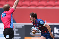 27th March 2021; Ashton Gate Stadium, Bristol, England; Premiership Rugby Union, Bristol Bears versus Harlequins; Piers O'Conor of Bristol Bears celebrates as he scores his try for 19-14 in 31st minute