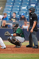 Daytona Tortugas catcher Chad Tromp (4) and umpire Jonathan Parra during a game against the Tampa Yankees on August 5, 2016 at George M. Steinbrenner Field in Tampa, Florida.  Tampa defeated Daytona 7-1.  (Mike Janes/Four Seam Images)