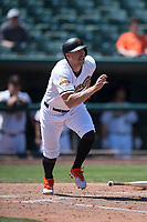 Sacramento RiverCats right fielder Hunter Pence (40) starts down the first base line on a rehab assignment during a Pacific Coast League against the Tacoma Rainiers at Raley Field on May 15, 2018 in Sacramento, California. Tacoma defeated Sacramento 8-5. (Zachary Lucy/Four Seam Images)