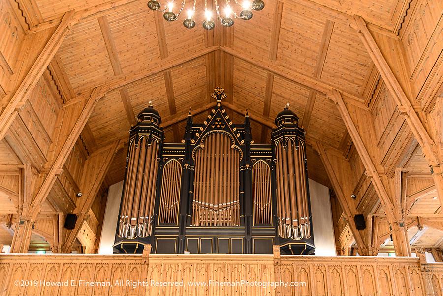 Beautiful organ and wooden interior of Kristiansand Lutheran Church