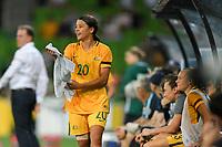 22 November 2017, Melbourne - Sam Kerr of Australia returns to the bench during an international friendly match between the Australian Matildas and China PR at AAMI Stadium in Melbourne, Australia.. Australia won 5-1. Photo Sydney Low