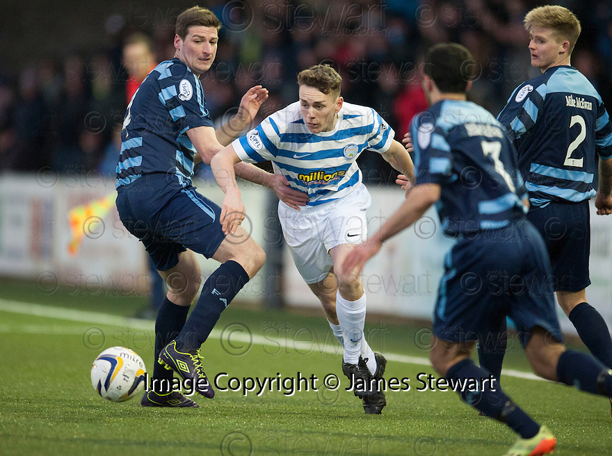Morton's Mark Russell tries to get past Forfar's Chris Templeman (left), Omar Kader  (7) and Forfar's Michael Travis (2).