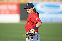 Ryan Fitzgerald (19) of the Salem Red Sox warms up in the outfield prior to the game against the Fayetteville Woodpeckers at Segra Stadium on May 15, 2019 in Fayetteville, North Carolina. The Woodpeckers defeated the Red Sox 6-2. (Brian Westerholt/Four Seam Images)