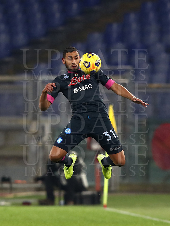 Calcio, Serie A: S.S.Lazio - Napoli, Olympic stadium, Rome, December 20, 2020. <br /> Napoli's Faouzi Ghoullam in action during the Italian Serie A football match between Lazio and Napoli at the Olympic stadium, on December 20, 2020.<br /> UPDATE IMAGES PRESS/Isabella Bonotto