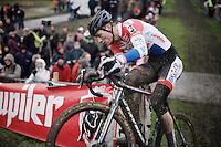 Dutch National Champion Mathieu Van der Poel (NLD/BKCP-Corendon) has a comfortable lead with 2 laps to go<br /> <br /> Noordzeecross - Middelkerke 2016