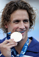 U.S. Ryan Lochte bites the gold medal after the Men's 400m Individual Medley final at the Swimming World Championships in Rome, 2 August 2009..UPDATE IMAGES PRESS/Riccardo De Luca