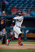 Jacksonville Jumbo Shrimp John Silviano (22) hits a single during a Southern League game against the Mobile BayBears on May 28, 2019 at Baseball Grounds of Jacksonville in Jacksonville, Florida.  Mobile defeated Jacksonville 2-1.  (Mike Janes/Four Seam Images)