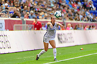 HARRISON, NJ - SEPTEMBER 29: Marisa Viggiano #23 of the Orlando Pride on a throw in during a game between Orlando Pride and Sky Blue FC at Red Bull Arena on September 29, 2019 in Harrison, New Jersey.