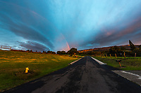 Incredible sunset light and a rainbow, as seen from just below the Kula Fire Station in Upcountry Maui.