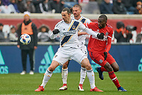 Bridgeview, IL - Saturday April 14, 2018: Zlatan Ibrahimovic, Tony Tchani, Perry Kitchen during a regular season Major League Soccer (MLS) match between the Chicago Fire and the LA Galaxy at Toyota Park.  The LA Galaxy defeated the Chicago Fire by the score of 1-0.
