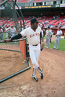 SAN FRANCISCO, CA - Bobby Bonds of the San Francisco Giants stands next to the batting cage before an old timers game at Candlestick Park in San Francisco, California in 1989. Photo by Brad Mangin