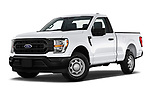 Stock pictures of low aggressive front three quarter view of 2021 Ford F-150 XL 4 Door Pick-up Low Aggressive
