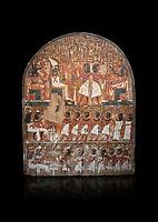 "Ancient Egyptian stele of scraftsman Minhotep in adoration of Osiris, limestone, New Kingdom, 18th Dynasty, (1336-1292 BC), Deir el-Medina, Drovetti cat 1619. Egyptian Museum, Turin. black background,<br /> <br /> The stele is dedicated to Osiris, Anubis and Hathor ""Mistress of the World""."