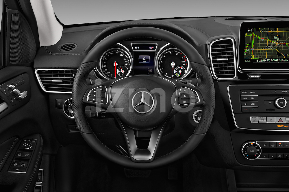 Car pictures of steering wheel view of a 2017 Mercedes Benz GLE-Class GLE550e-4MATIC® 5 Door SUV Steering Wheel