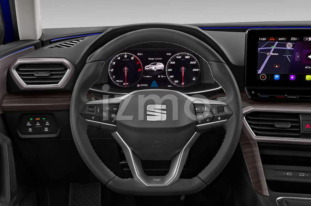 Car pictures of steering wheel view of a 2020 Seat Leon Xcellence 5 Door Wagon Steering Wheel