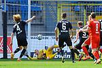 Vor dem Tor von Waldhofs Timo Königsmann / Koenigsmann (Nr.1) ist der Ball beim Spiel in der 3. Liga, SV Waldhof Mannheim - FSV Zwickau.<br /> <br /> Foto © PIX-Sportfotos *** Foto ist honorarpflichtig! *** Auf Anfrage in hoeherer Qualitaet/Aufloesung. Belegexemplar erbeten. Veroeffentlichung ausschliesslich fuer journalistisch-publizistische Zwecke. For editorial use only. DFL regulations prohibit any use of photographs as image sequences and/or quasi-video.