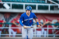 Ogden Raptors right fielder Niko Hulsizer (12) prepares to toss his bat after drawing a walk during a Pioneer League game against the Orem Owlz at Home of the OWLZ on August 24, 2018 in Orem, Utah. The Ogden Raptors defeated the Orem Owlz by a score of 13-5. (Zachary Lucy/Four Seam Images)