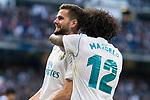 Real Madrid Nacho Fernandez and Marcelo celebrating a goal during La Liga match between Real Madrid and R. C. Deportivo at Santiago Bernabeu Stadium in Madrid, Spain. January 18, 2018. (ALTERPHOTOS/Borja B.Hojas)