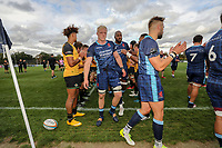 London Scottish players after the Greene King IPA Championship match between London Scottish Football Club and Ealing Trailfinders at Richmond Athletic Ground, Richmond, United Kingdom on 8 September 2018. Photo by David Horn.