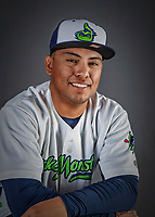 11 June 2019: Vermont Lake Monsters pitcher Jorge Martinez poses for a portrait on Photo Day at Centennial Field in Burlington, Vermont. The Lake Monsters are the Single-A minor league affiliate of the Oakland Athletics and play a short season in the NY Penn League Stedler Division. Mandatory Credit: Ed Wolfstein Photo *** RAW (NEF) Image File Available ***