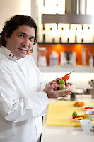 Peruvian chef Gaston Acurio in his kitchen. Acurio is trying to remake Peru's traditional cuisine and export it as Japan did with sushi.