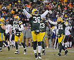 Green Bay Packers safety Nick Collins turns toward the crowd following his game-clinching interception against the Chicago Bears during the fourth quarter of the game at Lambeau Field in Green Bay, Wis.,  on Jan. 2, 2011.