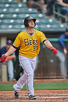 Scott Schebler (33) of the Salt Lake Bees at bat against the Tacoma Rainiers at Smith's Ballpark on May 16, 2021 in Salt Lake City, Utah. The Bees defeated the Rainiers 8-7. (Stephen Smith/Four Seam Images)