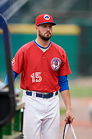 Buffalo Bisons pitcher Chad Girodo (15) walks to the dugout after a game against the Indianapolis Indians on August 17, 2017 at Coca-Cola Field in Buffalo, New York.  Buffalo defeated Indianapolis 4-1.  (Mike Janes/Four Seam Images)