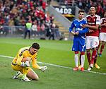 26.02.2020 SC Braga v Rangers: Matheus reacts after he saves Ianis Hagi's penalty kick