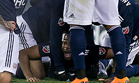 Foxborough, Massachusetts - April 6, 2018: In a Major League Soccer (MLS) match, New England Revolution (blue/white) defeated,4-0, Montreal Impact (white), at Gillette Stadium.<br /> Goal celebration. First career goal.