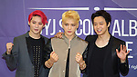 JYJ, Aug 03, 2014 : South Korean boy band JYJ's Junsu, JaeJoong,Yuchun (L-R) pose during a news conference after a showcase for their new second regular album, 'JUST US', in Seoul, South Korea.  (Photo by Lee Jae-Won/AFLO) (SOUTH KOREA)