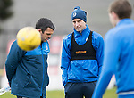 St Johnstone Training…14.04.17<br />Striker Steven MacLean talks with assistant manager Callum Davidson during training at McDiarmid Park this morning ahead of tomorrow's game against Aberdeen.<br />Picture by Graeme Hart.<br />Copyright Perthshire Picture Agency<br />Tel: 01738 623350  Mobile: 07990 594431