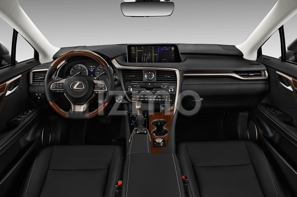 Stock photo of straight dashboard view of 2019 Lexus RX 350L-4x2 5 Door SUV Dashboard