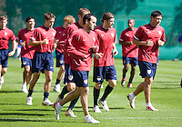 Landon Donovan and the USA squad warm up before training in Hamburg, Germany, for the 2006 World Cup, June, 8, 2006.