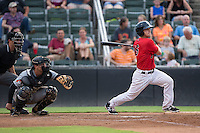 Grant Massey (16) of the Kannapolis Intimidators follows through on his swing against the West Virginia Power at Kannapolis Intimidators Stadium on August 20, 2016 in Kannapolis, North Carolina.  The Intimidators defeated the Power 4-0.  (Brian Westerholt/Four Seam Images)