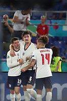 3rd July 2021, Stadio Olimpico, Rome, Italy;  Euro 2020 Football Championships, England versus Ukraine quarter final;   Harry Maguire C of England celebrates scoring for 2-0 with teammates