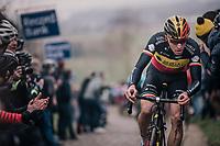 (blooded) Oliver Naesen (BEL/AG2R-LaMondiale) up the Paterberg<br /> <br /> 61th E3 Harelbeke (1.UWT)<br /> Harelbeke - Harelbeke (206km)
